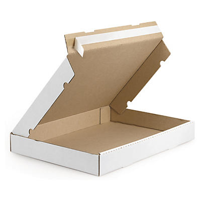 Boîte postale blanche extra-plate en carton avec fermeture adhésive##Versandkarton Flach-Pack mit Haftklebeverschluss, weiss