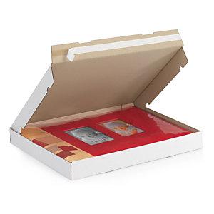 Boite postale carton extra-plate blanche petite cannelure avec fermeture adhésive 43x31x5 cm