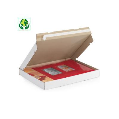 Boîte postale extra-plate carton blanche avec fermeture adhésive