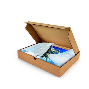 Boîte postale plate en carton simple cannelure brun - Format A3 L.int. 43 x l.31 x H.5 cm