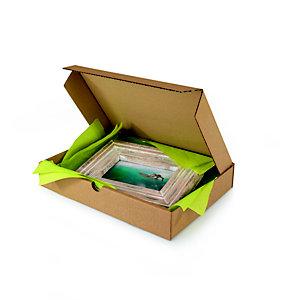 Boîte postale plate en carton simple cannelure brun - Format A5 L.int. 21,5 x l.15,5 x H.5 cm