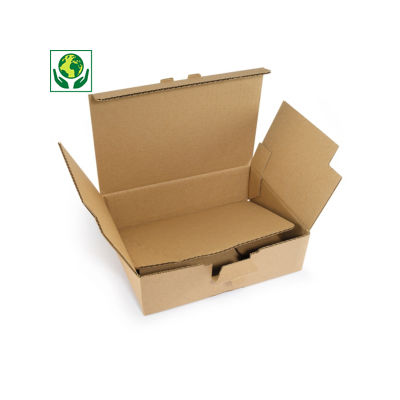 Boîte postale renforcée en carton avec fond automatique format A3##Versterkte A3 postdoos met automatische bodem, bruin enkelgolfkarton