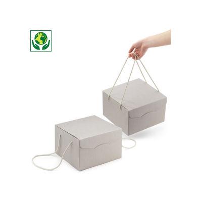 Boîte de présentation micro-cannelure grise à poignées coton collection HORIZON