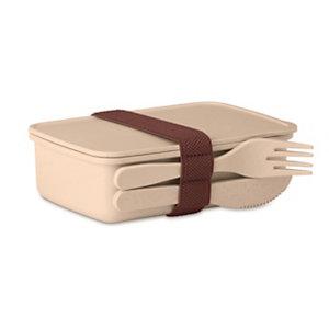 Boîte à repas Lunch box avec couverts - coloris beige