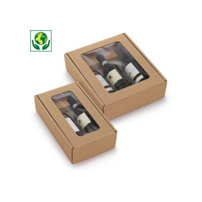 Boîte vitrine pour bouteilles Hévéa