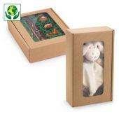 Boîtes micro-cannelure brune avec fenêtre collection HEVEA