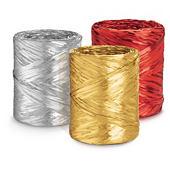 Bolduc couleur effet raphia métallisé pour emballage cadeau
