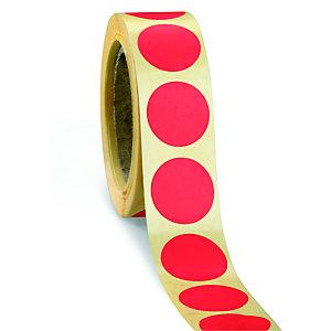 Bollini adesivi removibili in rotolo, Diametro 20 mm, Rosso (confezione 500 pezzi)