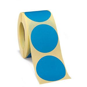 Bollini adesivi removibili in rotolo, Diametro 35 mm, Blu (confezione 500 pezzi)