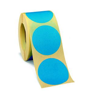 Bollini adesivi removibili in rotolo, Diametro 50 mm, Blu (confezione 500 pezzi)