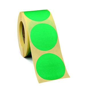 Bollini adesivi removibili in rotolo, Diametro 50 mm, Verde (confezione 500 pezzi)