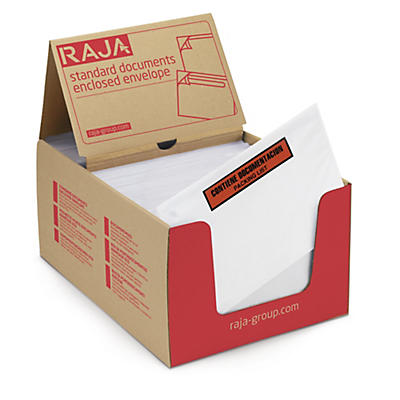 Bolsa adhesiva portadocumentos con mensaje impreso RAJALIST