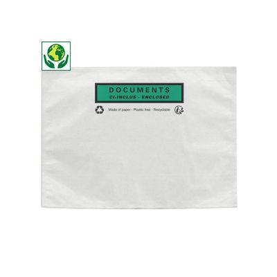 Bolsa adhesiva portadocumentos en papel con mensaje RAJA®