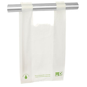 Bolsa camiseta biodegradable con asas 27 x 50 x 13 cm (apertura x alto x fuelle), blanco