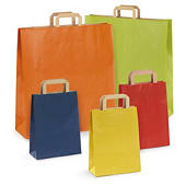 Bolsa de kraft en color con asas planas Rajashop