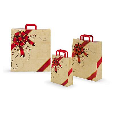 Bolsa kraft Navidad con asas planas