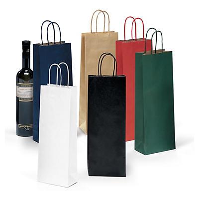 Bolsa de kraft para botellas con asas rizadas