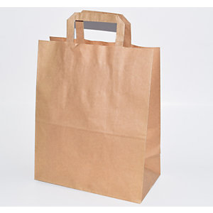 Bolsa papel kraft con asa plana, 26 x 32 cm 50 unid