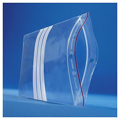 Bolsa de plástico cierre zip y franjas blancas 60 micras/Galga 240 RAJA®