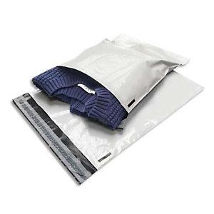 BONG Boîte de 100 pochettes en polyéthylène opaque blanches indéchirables 60 microns Format 31 x 42 cm