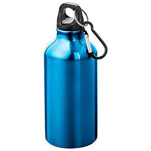 Borraccia personalizzabile Oregon con moschettone in alluminio, Capacità 400 ml, Blu lucido