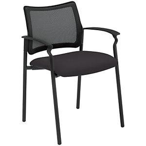 Boston Silla de confidente, malla y tela, estructura metálica negra, negro
