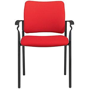 Boston Silla de confidente, tapizada, estructura metálica negra, rojo