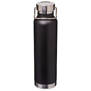 Bottiglia personalizzabile con isolamento sottovuoto in rame Thor, Acciaio inox, Capacità 650 ml, Nero