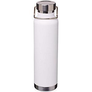 Bottiglia personalizzabile con isolamento sottovuoto in rame Thor, Acciaio inox, Capacità 650 ml, Solido bianco