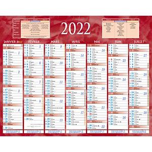 Bouchut Calendrier bancaire rouge - 21 x 26,5 cm - 2022