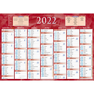 Bouchut Calendrier bancaire rouge - 38,5 x 54 cm - 2022