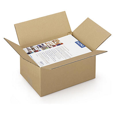 Caisse carton brune simple cannelure RAJA, format DIN A4##Braune Wellpapp-Faltkartons RAJA, 1-wellig, DIN A4 Format