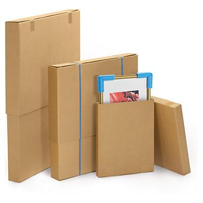 Caisse télescopique en carton pour produits plats##Brauner Stülpdeckelkarton für flache Produkte, 2-wellig