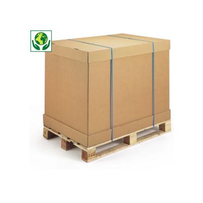 Brauner Wellpapp-Container mit separatem Boden und Deckel