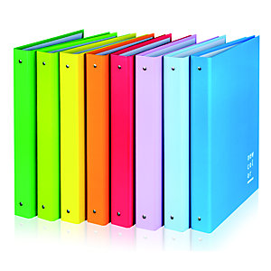 BREFIOCART New Color Raccoglitore ad anelli, 270 x 320 mm, Carta monopatinata plastificata, Colori assortiti (confezione 5 pezzi)