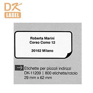 Brother DK-11209 Etichette per indirizzo, 29 x 62 mm, Adesivo permanente, Bianco e nero