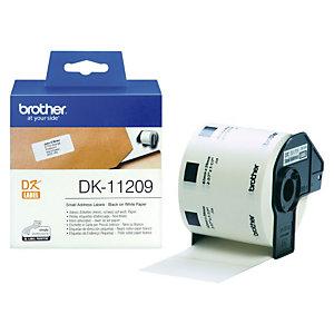 Brother DK-11209 Etiquetas de dirección, 29 x 62 mm, adhesivo permanente, blanco y negro