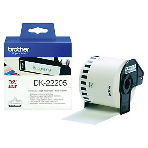 Brother DK-22205 cinta continua blanca - 62 mm. x 30,48 m.