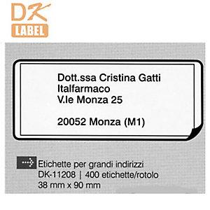 """Brother Etichette pretagliate """"DK"""" - Grandi indirizzi - Dimensioni etichetta 38 x 90 mm - Etichette per rotolo 400 x 1"""