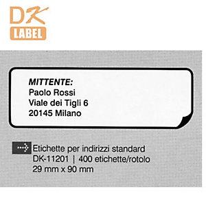 """Brother Etichette pretagliate """"DK"""" - Indirizzi standard - Dimensioni etichetta 29 x 90 mm - Etichette per rotolo 400 x 1"""