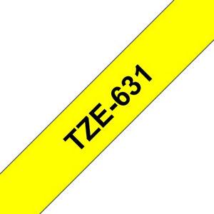 """Brother Nastro """"TZ"""" per etichettatrici - Nero/Giallo - Dimensione mm 12 x 8 m."""