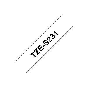 Brother Rouleau de ruban adhésif laminé extra solide, TZe-S231, noir sur blanc, 1,2cm x 8m