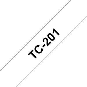 Brother Rouleau de ruban adhésif laminé, TC-201, noir sur blanc, 1,2cm x 7,7m