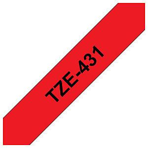 Brother Rouleau de ruban adhésif laminé, TZe-431, noir sur rouge, 1,2cm x 8m