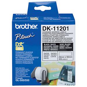 Brother Rouleaux d'étiquettes Brother - Adressage - Modèles DK11201  - pour imprimante QL - 400 étiquettes