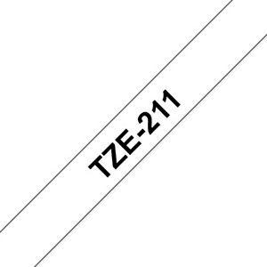Brother Ruban adhésif d'étiquetage TZe-211, noir sur fond blanc, 6mmx8m
