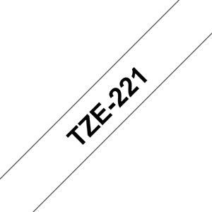 Brother Ruban adhésif d'étiquetage Tze-221, noir sur fond blanc, 9mmx8m
