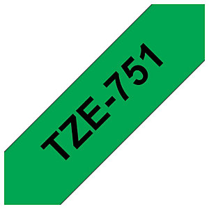 Brother Ruban adhésif d'étiquetage TZe-751, noir sur fond vert, 24mmx8m