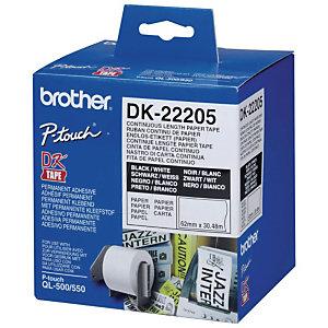 Brother Ruban continu Brother - 62mmx30m - Modèles DK22205  - pour imprimante QL
