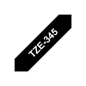 Brother Ruban titreuse BROTHER - TZe - écriture Blanc / fond Noir - 18 mm x 8 m - Modèle TZe-345